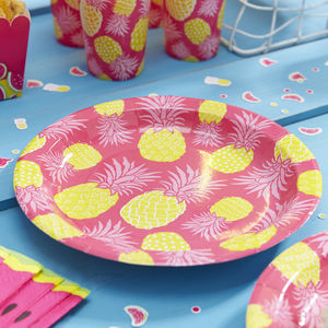 Hot Pink And Pineapple Party Paper Plates