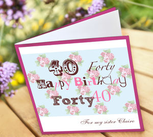 Personalised 40th Birthday Card - 40th birthday cards