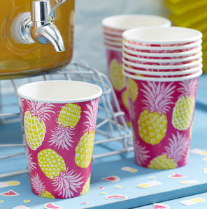 Hot Pink And Pineapple Summer Party Paper Cups - garden party
