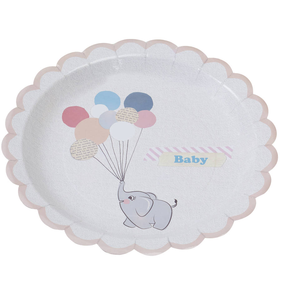 Vintage Themed Baby Elephant And Peach Paper Plates By