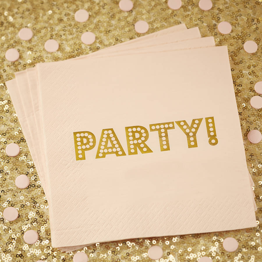 Pastel Pink Gold Foiled Paper Napkins By Ginger Ray