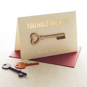 Personalised 'Key To My Heart' Card - wedding, engagement & anniversary cards