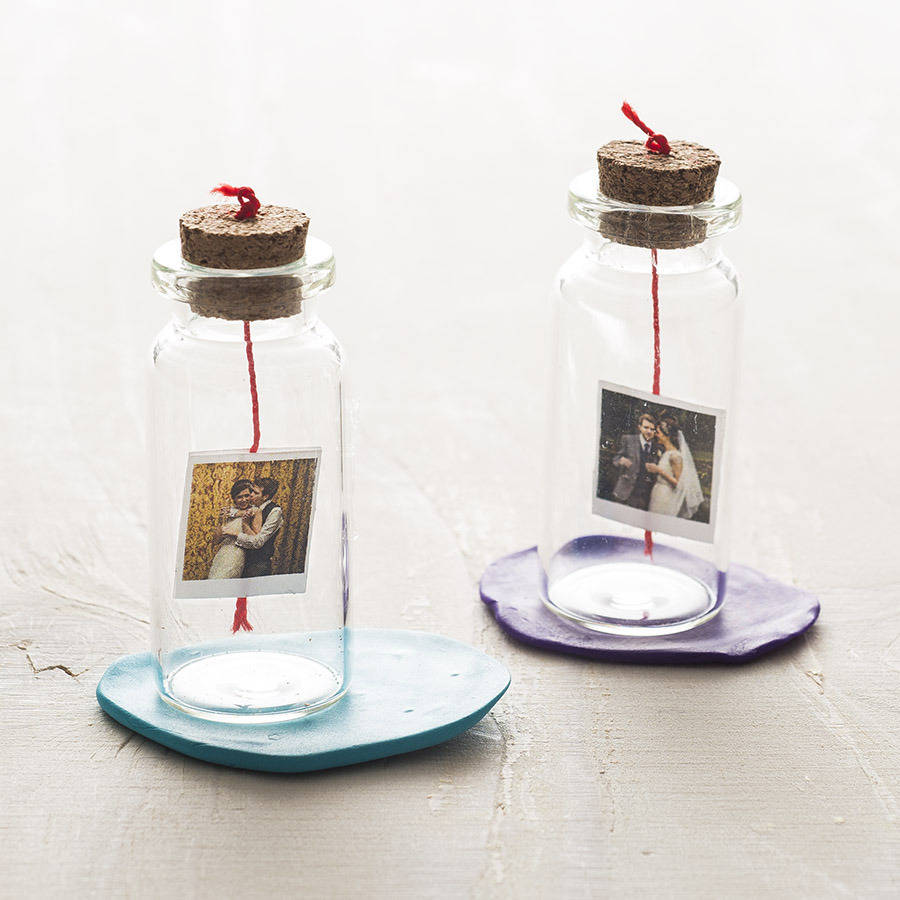 personalised mini photo and message bottle by