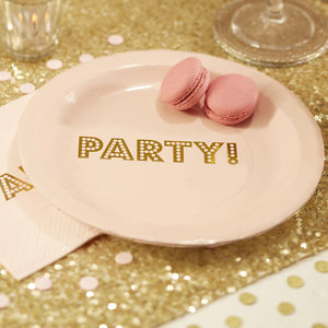 Pastel Pink Party Gold Foiled Paper Plate - picnicware