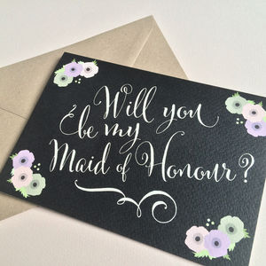 Will You Be My Maid Of Honour? Card - wedding, engagement & anniversary cards
