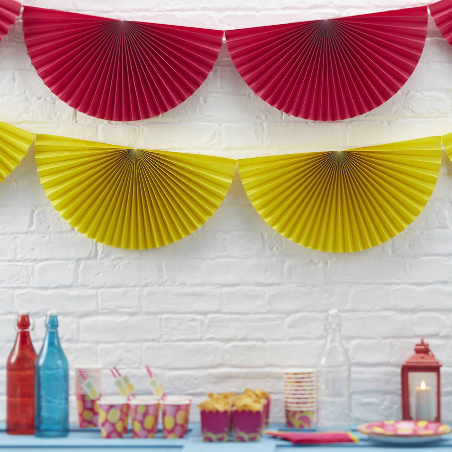Pink paper hanging fan decorations by ginger ray for Decoration paper