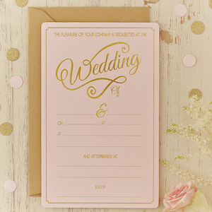 Pastel Pink And Gold Foiled Wedding Invitations
