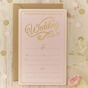 Pastel Pink And Gold Foiled Wedding Evening Invitations - modern calligraphy for weddings