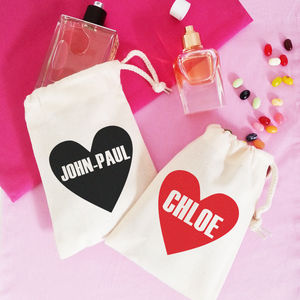 Personalised 'Name Heart' Draw Cord Makeup And Bits Bag