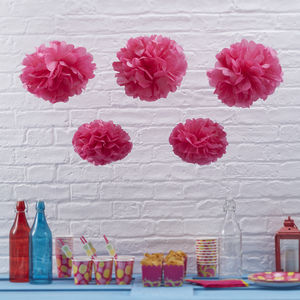 Hot Pink Tissue Paper Pom Poms - children's room