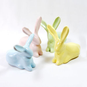 Pastel Bunny Figurines - decorative accessories