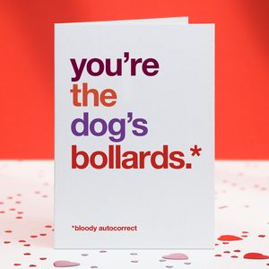 Humorous Autocorrect 'Dog's Bollards' Card