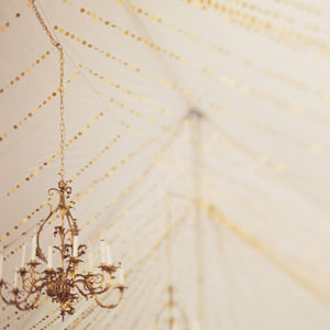 Gold Shimmer Circles Paper Garland - room decorations