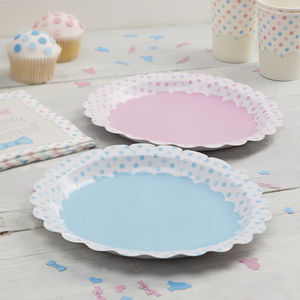 Pink And Blue Spotty Paper Plates - tableware