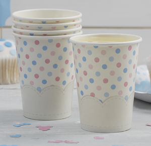 Pink And Blue Spotty Paper Cups - tableware