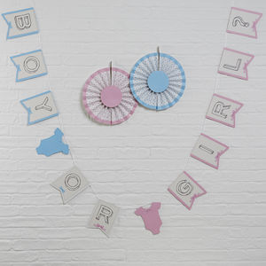 Pink And Blue Baby Boy Or Girl Bunting - baby's room