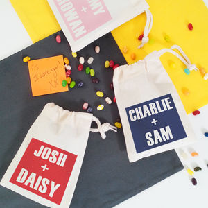 Personalised For Couples 'Our Names' Draw Cord Bits Bag