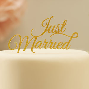 Gold Sparkling Just Married Cake Topper