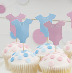 Pink And Blue Baby Grow Cupcake Toppers - decoration
