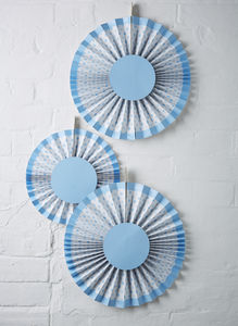 Pack Of Three Baby Blue Spotty Fan Decorations - bunting & garlands