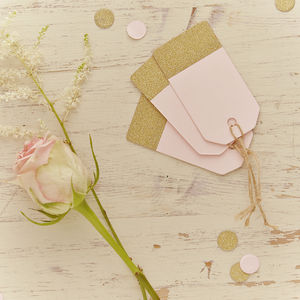 Pastel Pink And Gold Glitter Luggage Tags - ribbon & wrap