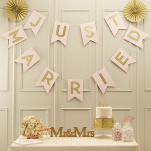 Pastel Pink And Gold Glitter Just Married Bunting - outdoor decorations