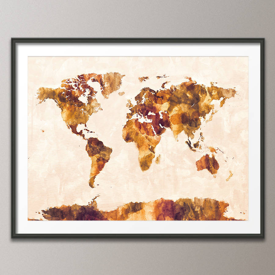World map watercolour print by artpause notonthehighstreet art print poster frame not included orangebrown version gumiabroncs Gallery