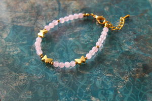 Precious Stone Bracelet With 22k Gold Plated Charms