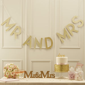 Gold Glitter Mr And Mrs Word Bunting - outdoor decorations