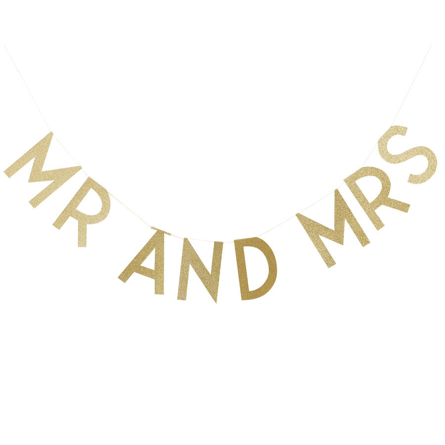 Gold Glitter Mr And Mrs Word Bunting By Ginger Ray