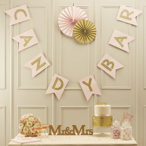 Pastel Pink And Gold Glitter Candy Bar Bunting - outdoor decorations