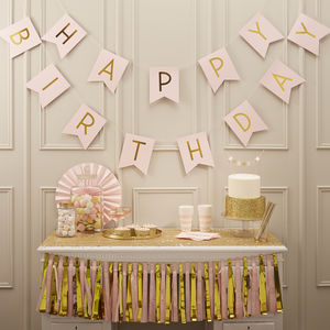 Pastel Pink And Gold Foiled 'Happy Birthday' Bunting - bunting & garlands