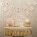 Pastel Pink And Gold Foiled 'Happy Birthday' Bunting