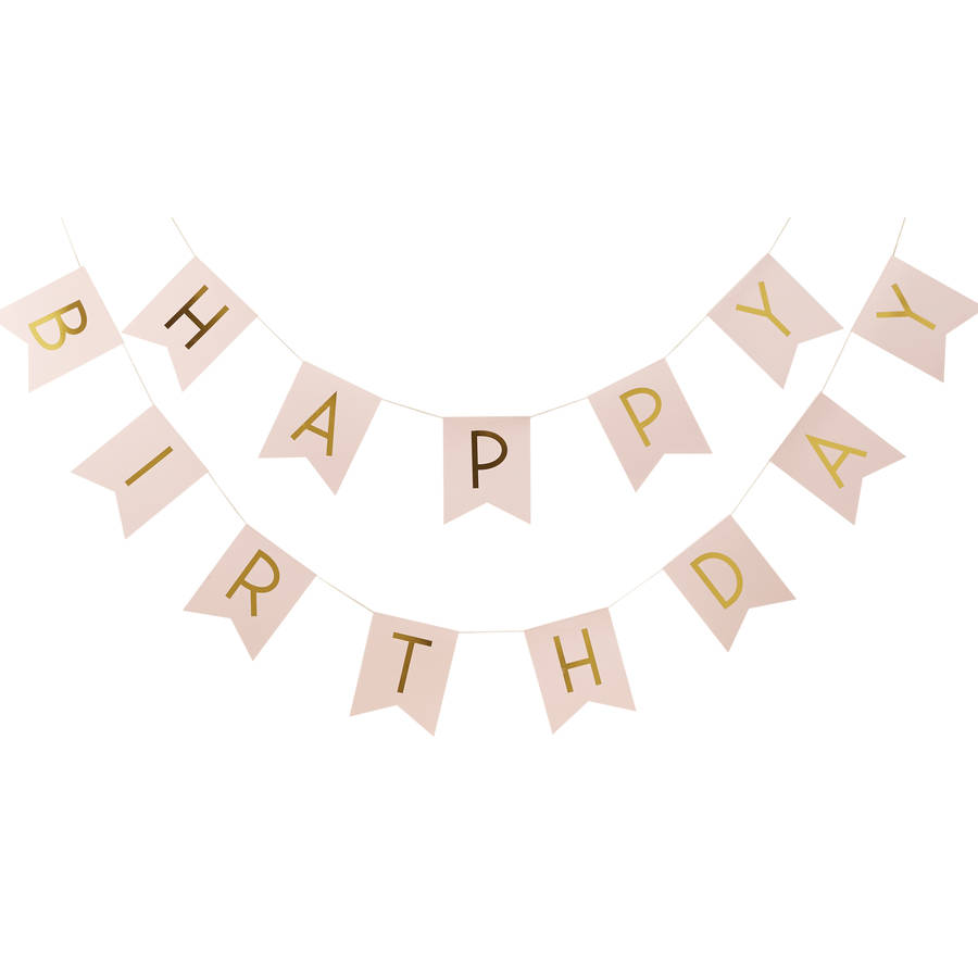 I Am One Pink And Gold Birthday Party Decorations One High: Pastel Pink And Gold Foiled 'happy Birthday' Bunting By