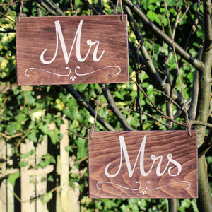 Mr And Mrs Wedding Signs Handmade And Handpainted - outdoor decorations