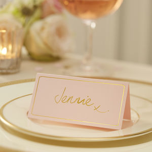 Pastel Pink And Gold Foiled Place Cards - place cards