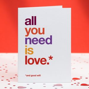 'And Good Wifi' Funny Love, Wedding Or Anniversary Card