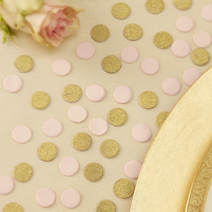 Gold Glitter And Pastel Pink Table Confetti - dining room