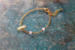 Gold Plated Dragonfly Charm Bracelet - women's jewellery