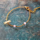 Gold Plated Dragonfly Charm Bracelet