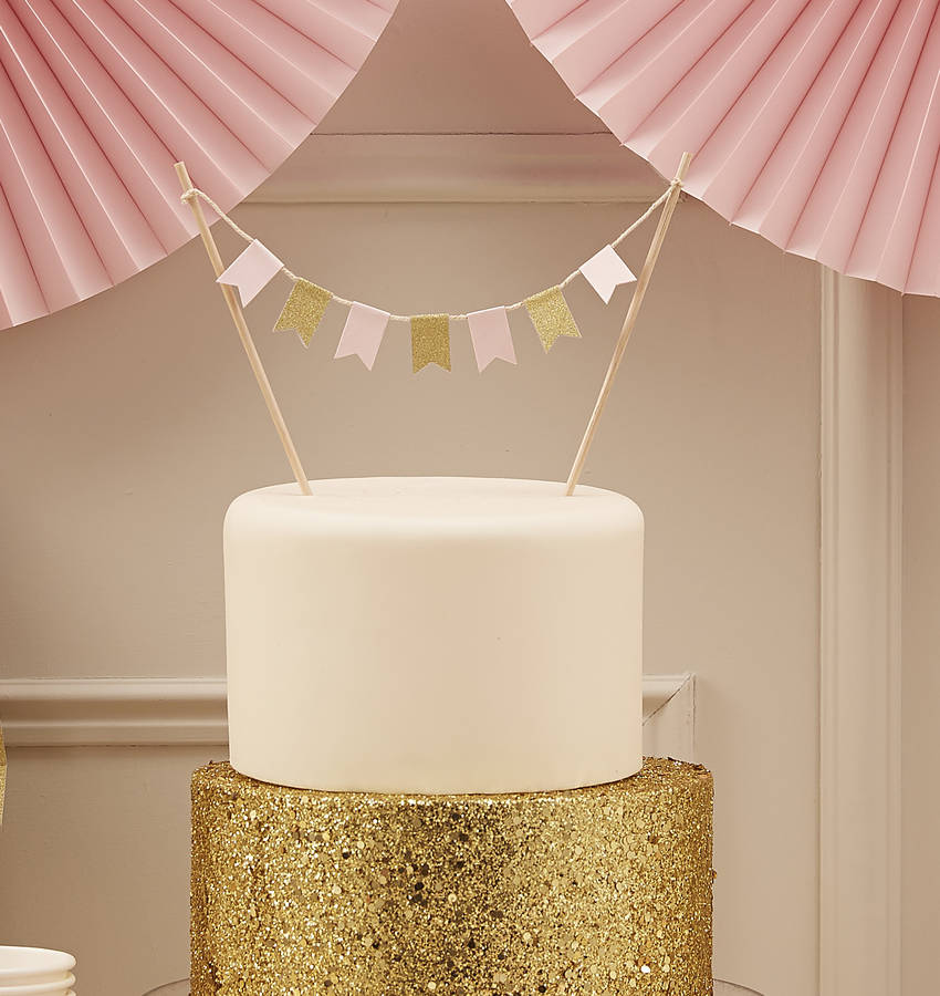 Pastel And Gold Sparkle Cake Bunting By Ginger Ray