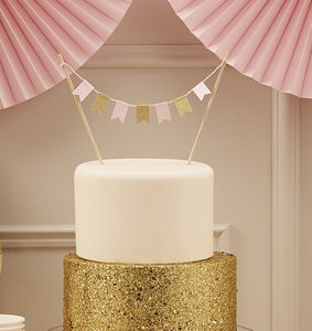 Pastel And Gold Sparkle Cake Bunting - cake decoration