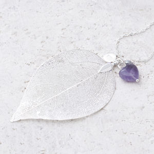 Abelle Personalised Leaf And Heart Necklace