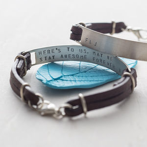 Men's Personalised Silver Hidden Message Bracelet - bracelets