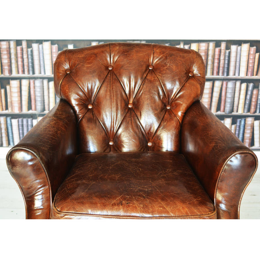 antique leather wingback chesterfield armchair by majeurs ...