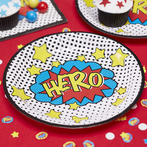 Comic Superhero Party Paper Plates - table decorations
