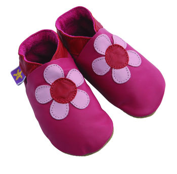 Girls Soft Leather Baby Shoes Poppy Flower In Fuchsia
