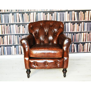 Antique Leather Wingback Chesterfield Armchair - living room