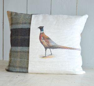 Linen And Tweed Pheasant Cushion - cushions