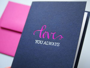 Navy And Pink Love You Always Card - anniversary cards